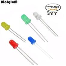 Mcigicm شحن مجاني 10000 قطع الأبيض الثنائيات الباعثة للضوء الأبيض بدوره أبيض أحمر أخضر أصفر 5 ملليمتر led