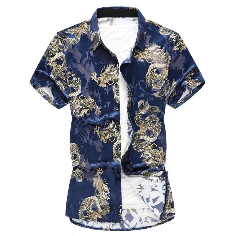 2019 Summer Chinese Style Shirt Dragon Print Fashion Brand Men Shirt Business Casual Short Sleeve Shirt Male Slim Social Shirt in Casual Shirts from Men 39 s Clothing