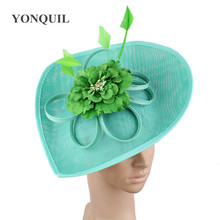 Элегантные изумрудно-зеленые фетровые шляпы kenducky Derby головные уборы чародей женские летние головные уборы для церкви, свадьбы, вечеринки SYF539