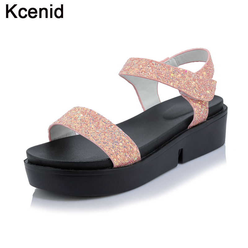 f69410d1496 Kcenid Hot new thick bottom silver gold shoes for women round toe  blingbling loafer large size 33-44 ladies flat platform shoes