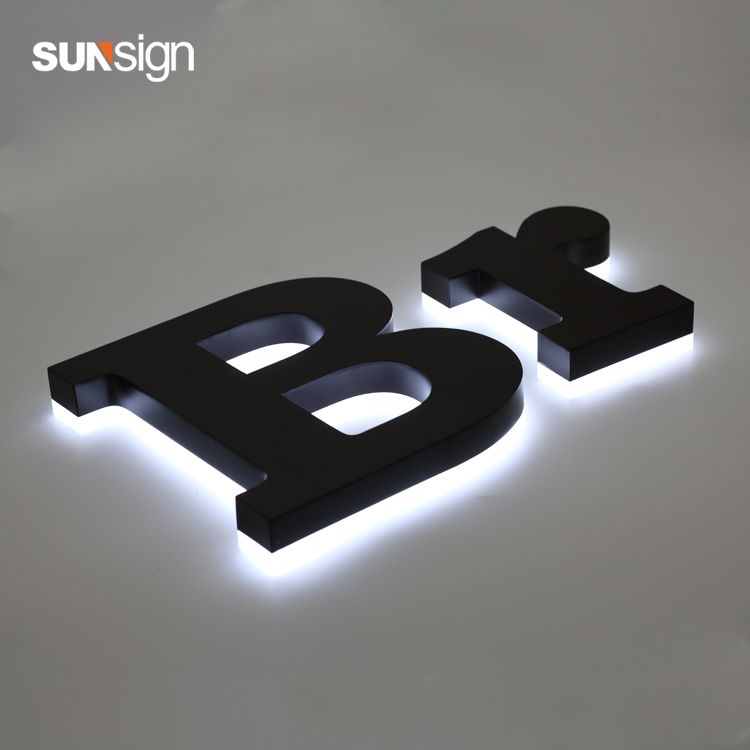 Outdoor Advertising 3D Stainless Steel Letter LED Backlit Halo Lit Shop Signage