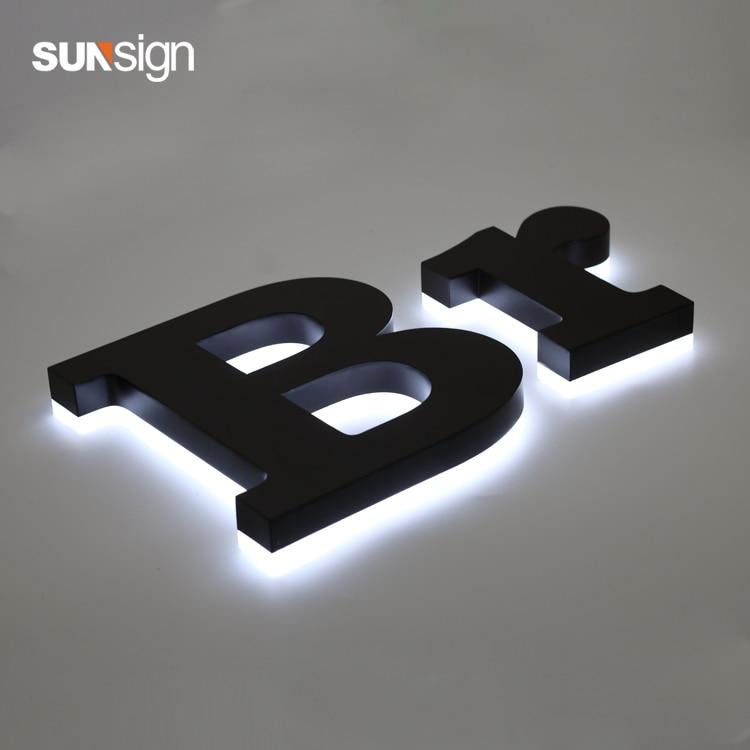 Outdoor Advertising 3D Stainless Steel Letter LED Backlit Halo Lit Shop Signage