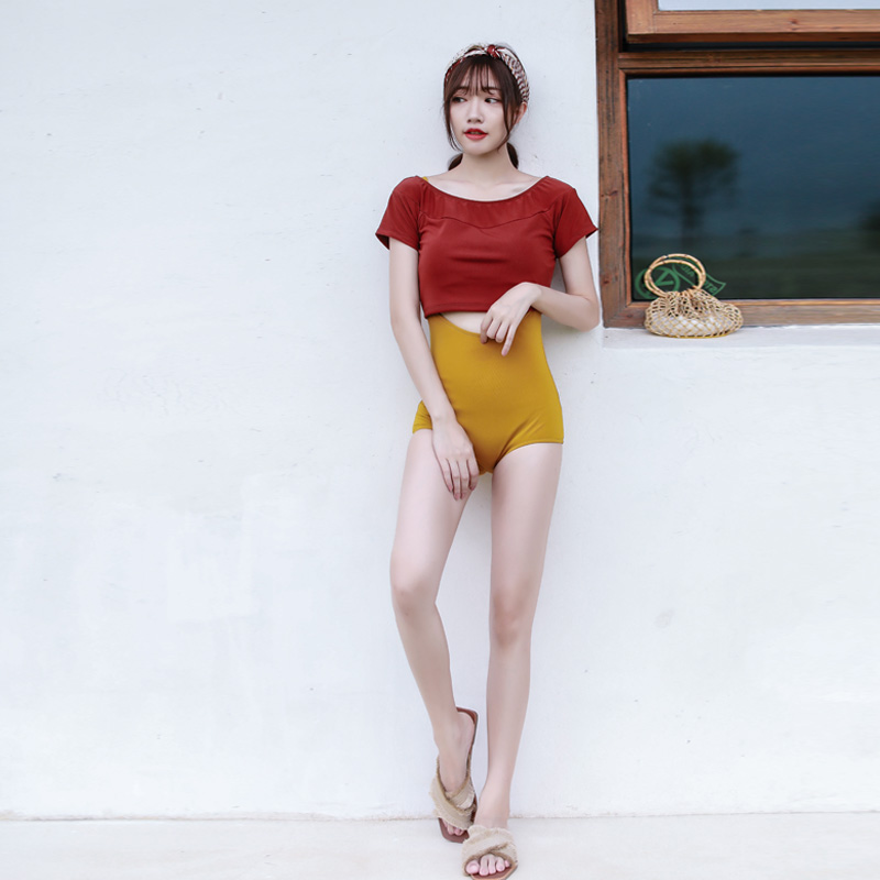 Korean swimsuit, female, ginger and yellow triangle blouse, two pieces of protective clothing. laconic and elegant two pieces of leaves design rings for female