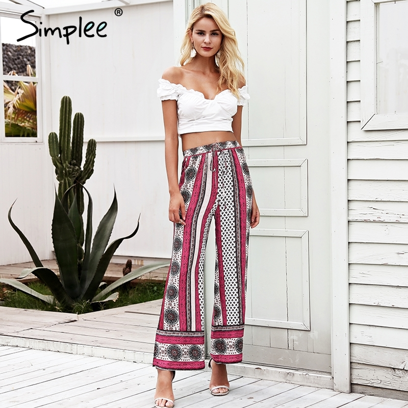 Simplee Ethnic floral print wide leg pants Elastic high waist casual pants women 2018 Summer beach capri stripe loose trousers