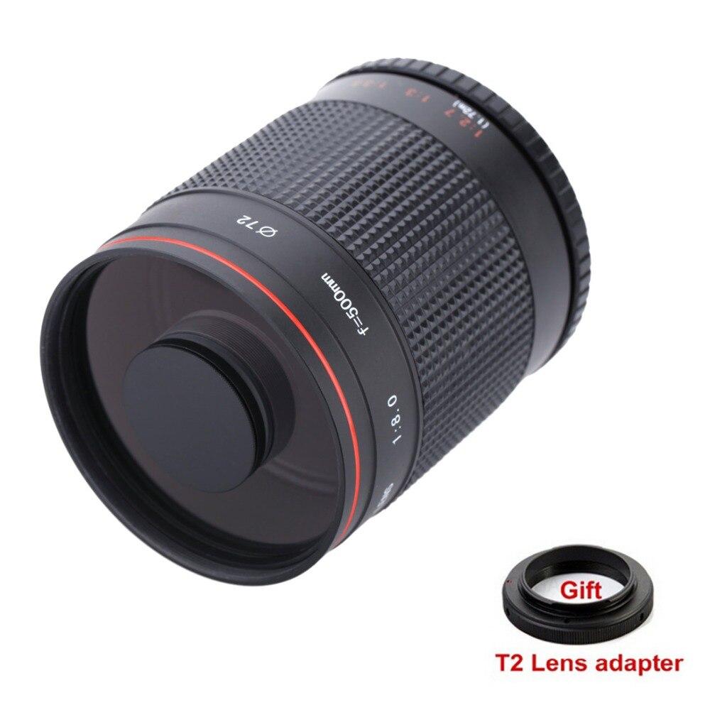 500mm f/8.0 Caméra Téléobjectif Manuel Lentille Miroir + T2 Adaptateur de Montage pour Canon Nikon Pentax Sony A7 a7RII A6300 Olympus M4/3 DSLR