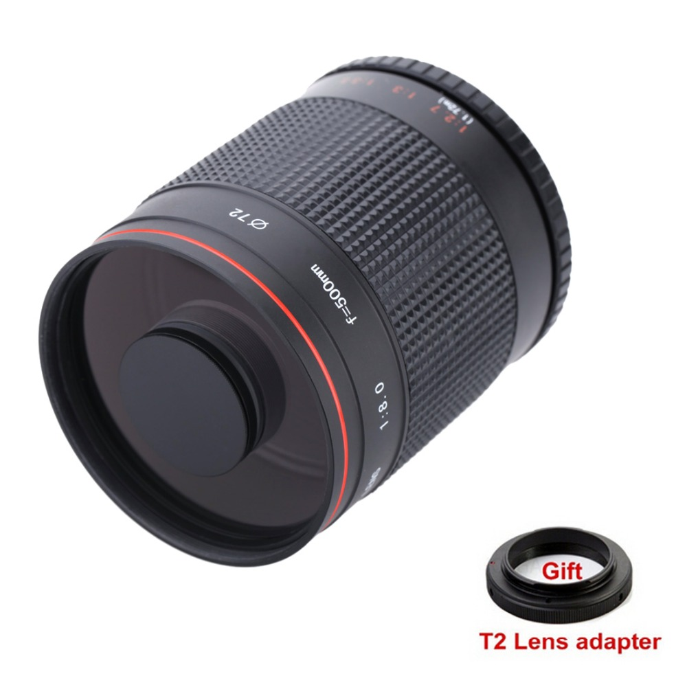 500mm f/8.0 Caméra Téléobjectif Manuel Miroir Lentille + T2 Mount Adapter pour Canon Nikon Pentax Sony A7 A7RII A6300 Olympus M4/3 DSLR