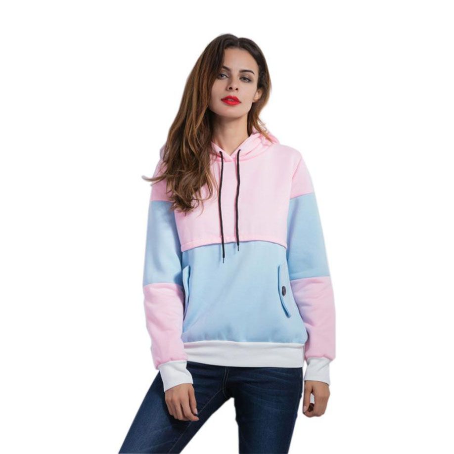 feitong Patchwork New Style Hot Winter Cloth Fashion Women Long Sleeve Patchwork Hoodies Casual Loose Tops Blouse Advanced