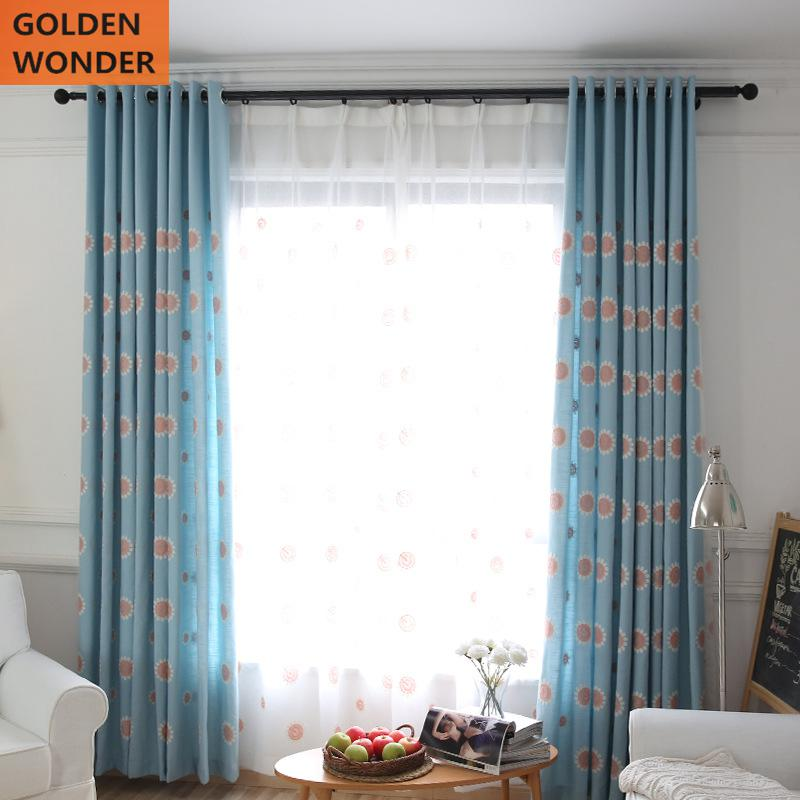 Modern Beautiful Simple Embroidered Fresh Kids Curtains Living Room Children Environmental Protection Printing