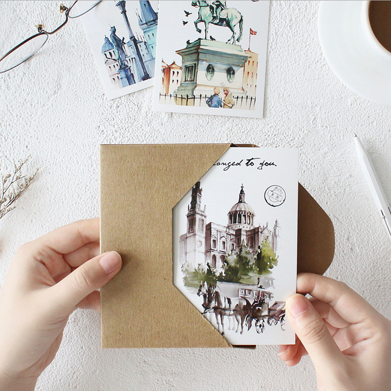 30 Pcs/lot Classical European Architecture Greeting Card Postcard Birthday Letter Envelope Gift Card Set Message Card