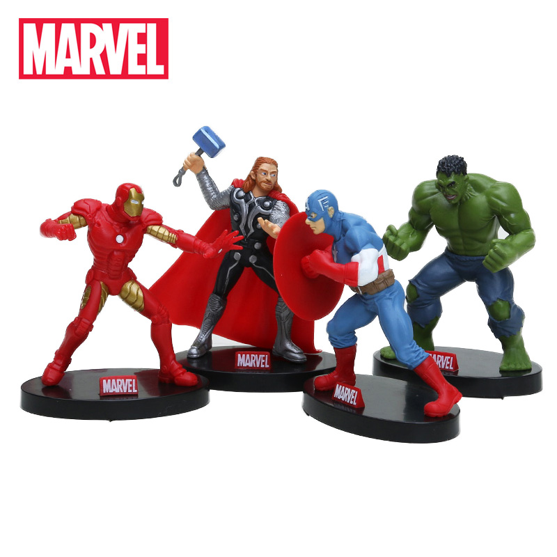 4pcs 10cm The Avengers Figure Set Superhero Thor Hulk Ironman Captain America Action Figure Collectible Model Doll Marvel Toys