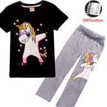 Baby Girls rainbow Clothes Set Cartoon Unicorn Print Clothing Summer Toddler Sports Suit For 4 5 7 9 10 12 Years T-shirt + pants(China)