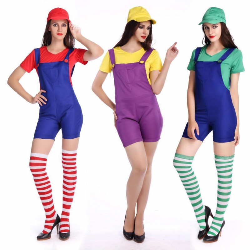 CFYH 2018 New Halloween Costumes Women Super Mario Brothers Plumber Costume Jumpsuit Fancy Cosplay Clothing for Adult Women