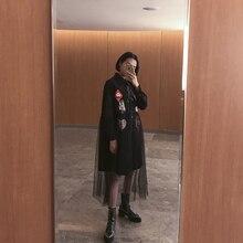 Fashion street poker print pattern oversize patchwork gauze single breasted POLO collar one-piece dress female