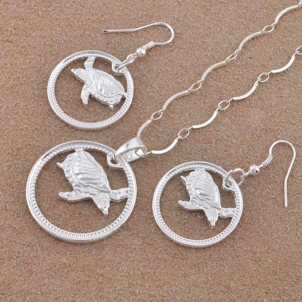 Anniyo Silber Farbe Schildkröte Schmuck set Insel Stil Schildkröte Halskette Ohrringe PNG Tier Schmuck Geschenke für Frauen # 118906B