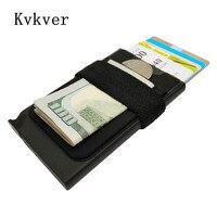 Kvkver New Design RFID Credit Card Holder Wallet Metal Case Safe Wallet Aluminum Blocking Money Clip Travel Mini Purse Id Card