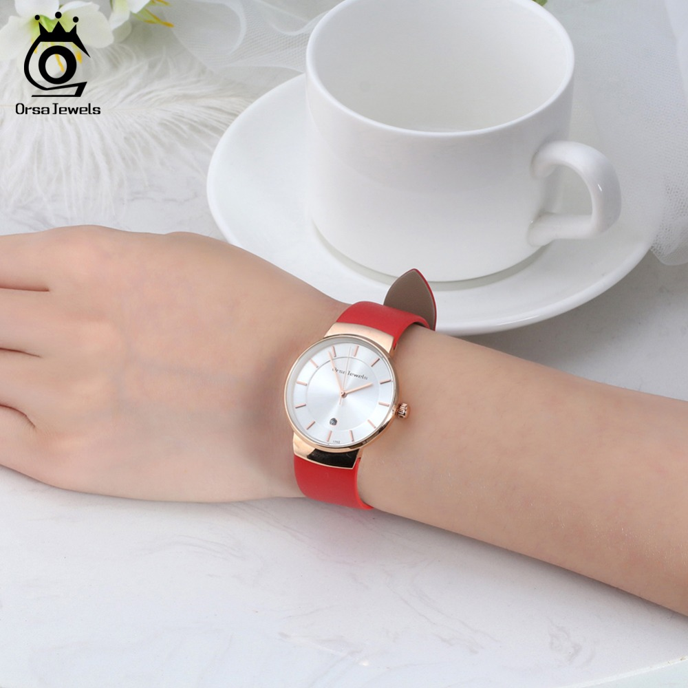 ORSA JEWELS Dress Watch For Women Luxury Fashion 4 Colors Wristwatches Office Ladies Gift Relogio Feminino Jewelry OW04 4