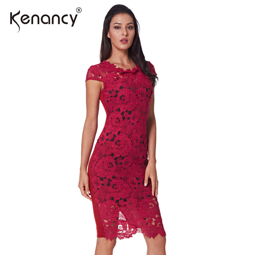 7a5397c379e Detail Feedback Questions about Kenancy Pre sale High Quality Sexy Hollow  Out Lace Dress Women Party   Office Elegant Pencil Vestidos With Lining 5  Colors ...