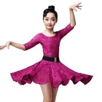 Lace Children Kids Latin Practice Dance Wear Dancewear Competition Dress Tango Flamengo Ballroom Salsa Rumba Cha Cha for Girls