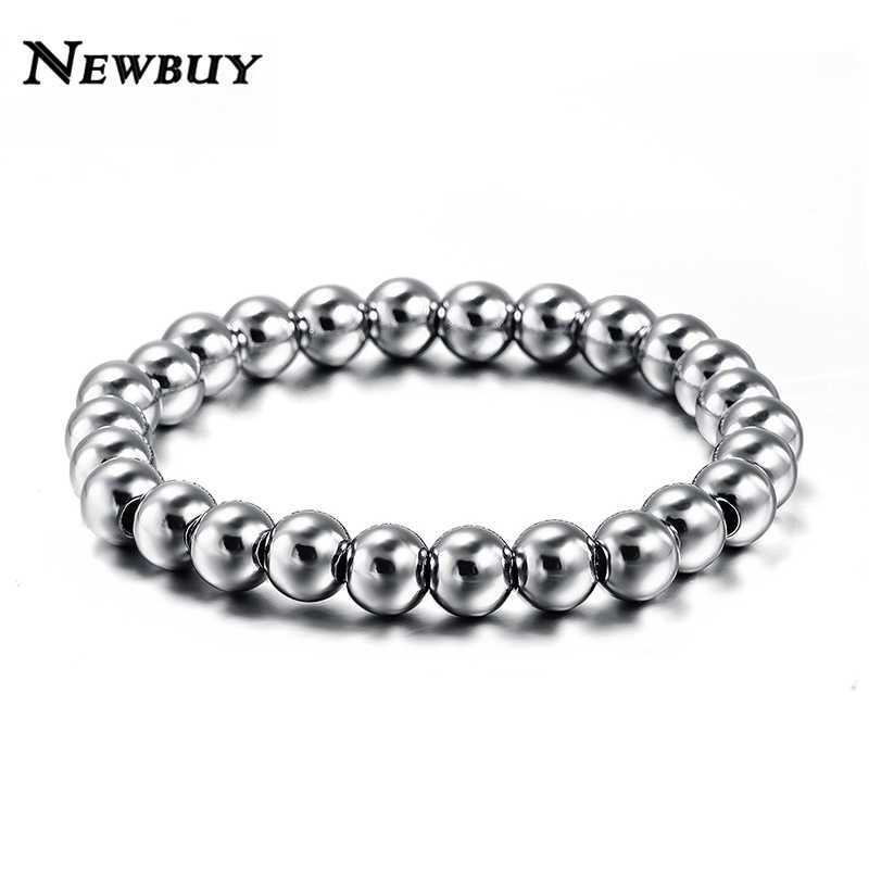 NEWBUY Never Fade Stainless Steel Bracelet Bangle For Men and Women Unisex Bead Ball Jewelry Cool Charm Bracelet Wholesale