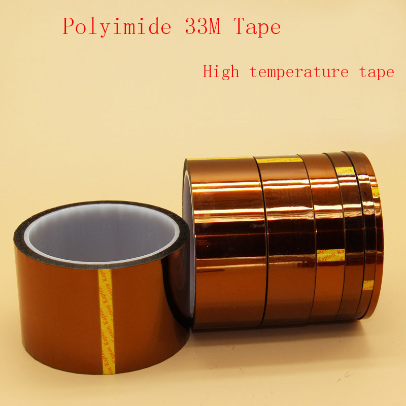 20mm*33m gold Color Adhesive Tape High Temperature Heat Resistant Polyimide Tape for Electronic BGA PCB SMT Soldering Shielding high temperature heat resistant polyimide adhesive tape 65mm x 30m 260 300 degree new for electronics industry