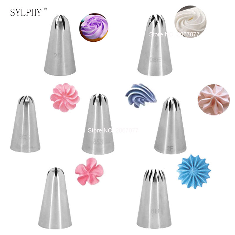 7 stk. Cake Cream Decorating Tip Sæt Rustfrit Stål Piping Dyse Cupcake Pastry Baking Tool