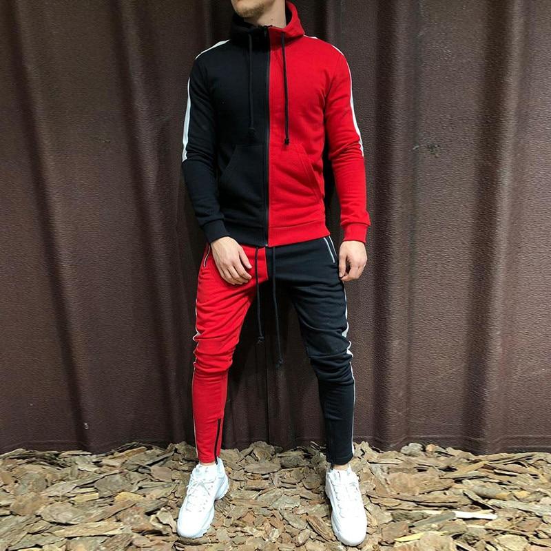 Brand New Men Sets Fashion Autumn Winter Patchwork Jacket Sporting Suit Hoodies+Sweatpants 2 Pieces Sets Slim Tracksuit Clothing