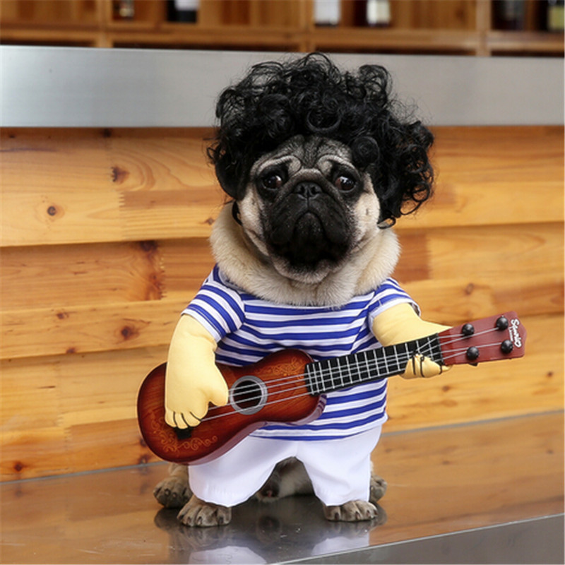 Funny Guitar Player Cosplay Dog Costume For Small Dog Large Dog Pet Cat Funny Golden Retriever Halloween Party Custome Clothes