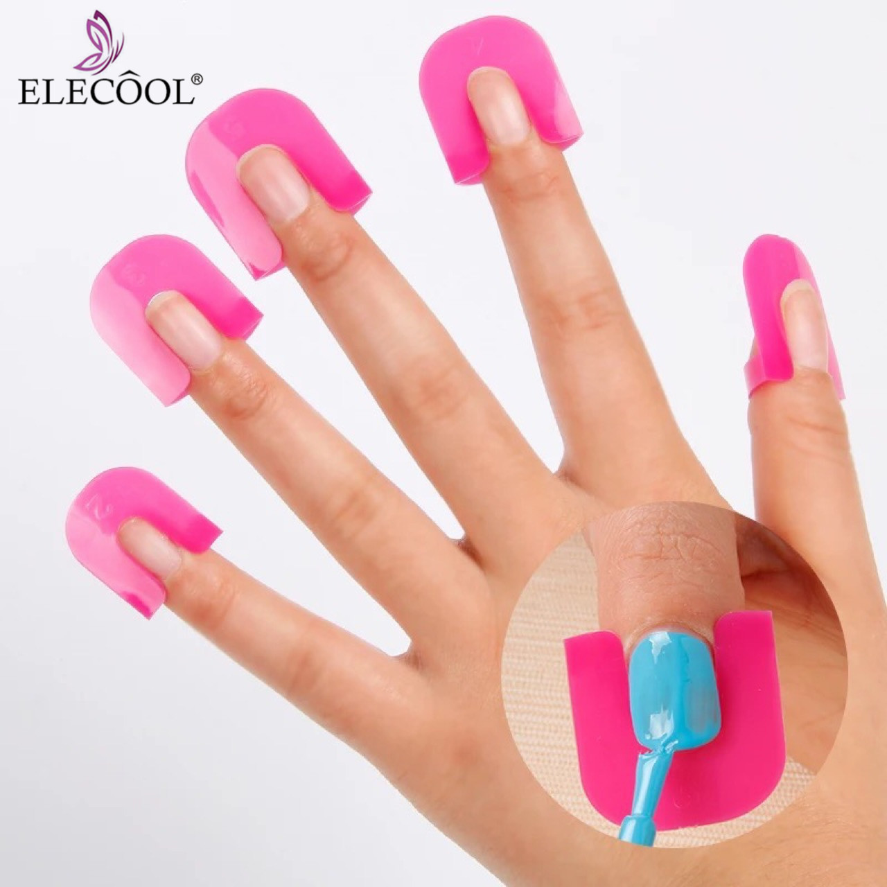 ELECOOL 26Pcs Pink Nail Gel Accessories Model Clip Nail Edge Polish Glue Overflow Preven Tool Portable DIY Nail Art Manicure Set portable peg clip set
