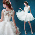 2017 White Floral Appliques Ball Gown MiniCocktail Dresses Ruffle Short Prom Dress Formal Party Gowns Robe De Soiree Curto GF109
