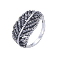 Top Quality Classic And Luxurious Retro 925 Sterling Silver Feather Design Ring