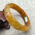 A-5974 Vintage China Hand-carved Brown Jadeite Jade Gems Bracelet Bangle 56mm a 5.19
