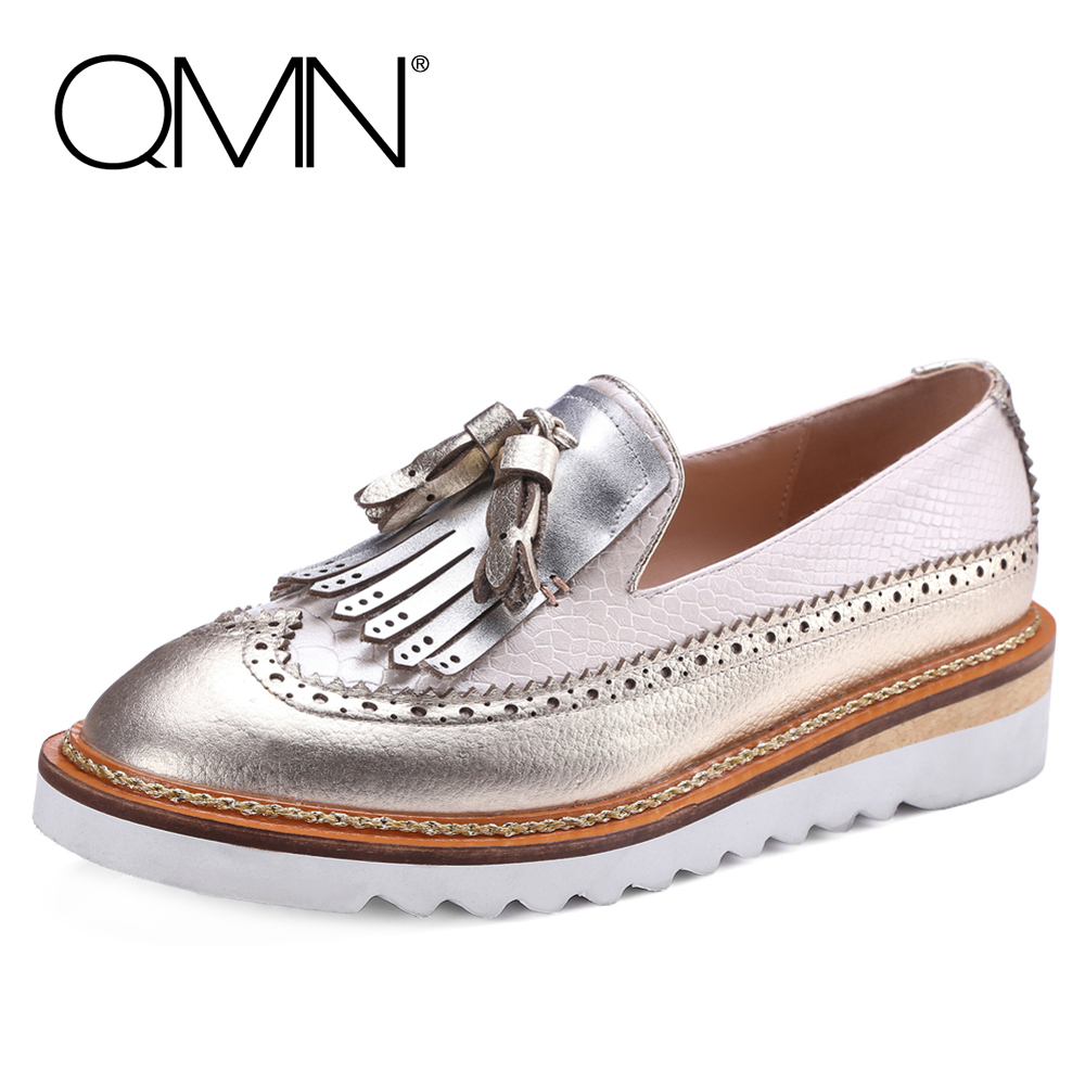 ФОТО QMN women two-tone snake-effect textured metallic leather plaform loafers Women Fringed Tasseled Causal Shoes Woman Flats