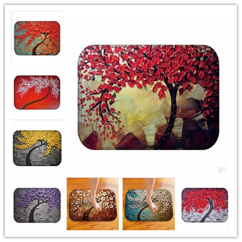 40*60cm Oil painting tree pattern Printed Carpets For Kids Room Home Bedroom Decor Mat Rug Kitchen Bathroom Non-slip Tapete