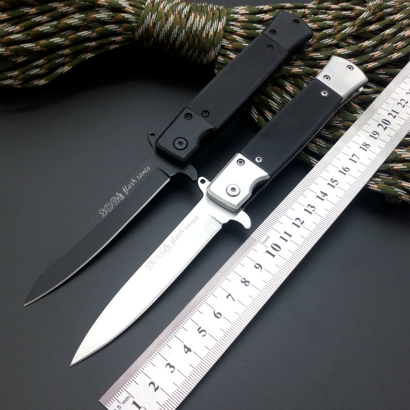 Hot Folding font b Knife b font 440 Blade G10 Handle Sog Pocket font b Knife