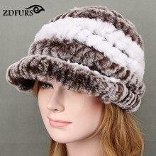 2017 Winter Hat For Women Genuine Rex Rabbit Fur Hat With Fox Fur Flower Female Fur Cap Good Quality Fur Casquette  11 Colors