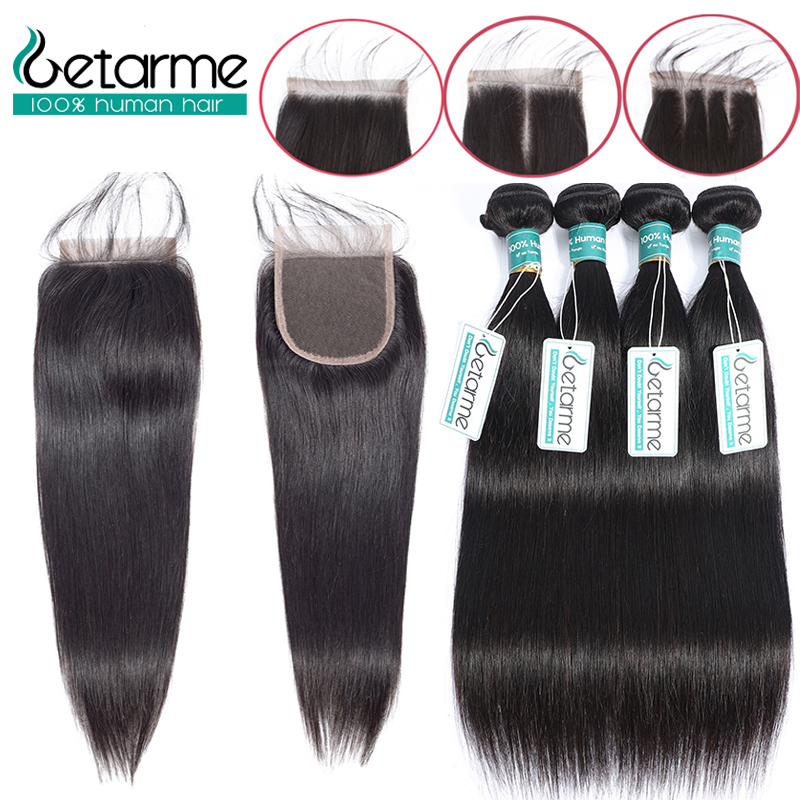 Hair Extensions & Wigs Purposeful 3 Bundles Malaysian Straight Human Hair With 4*4 Inch Lace Closure Bleached Knots Non Remy Hair Weave 4 Pcs/lot Crazy Price Human Hair Weaves