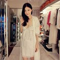 New Fashion Summer Silk Pajamas Female Lace Collar V Neck Half Sleeve Long Robe Two Piece Suit Home Wear Nightgown Nightdress