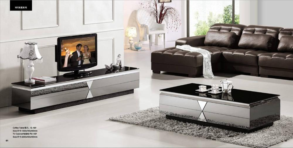 Gray Mirror Modern Furniture Coffee Table and TV Cabinet