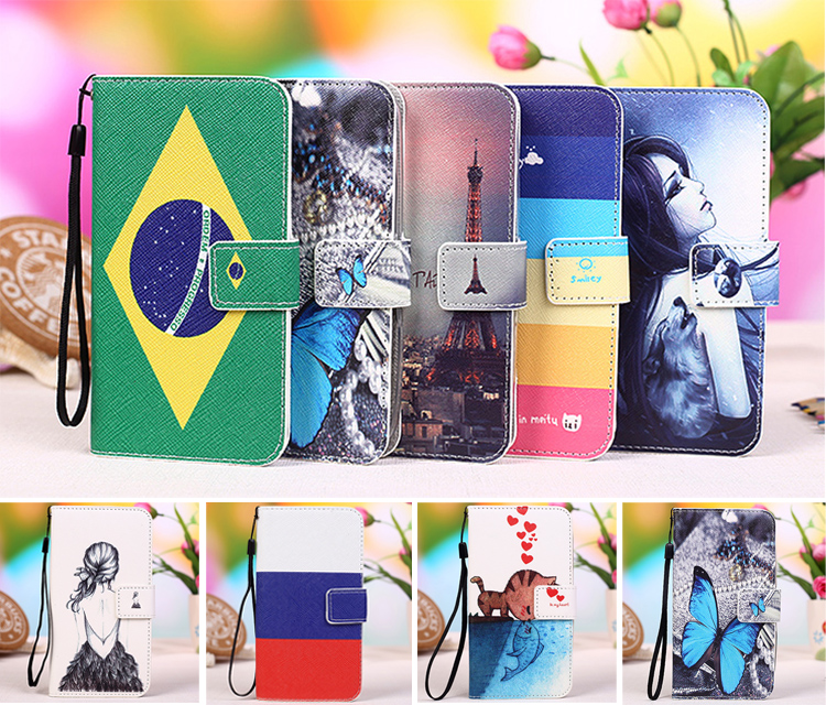 New Cartoon Painting PU Leather Flip Exclusive <font><b>case</b></font> For Wiko <font><b>Tommy</b></font> <font><b>phone</b></font> <font><b>case</b></font> cover + Lanyard Gift + Tracking