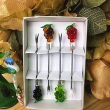 Custom cute stainless steel fruit fork sets handmade lampwork murano glass Grape Figurines Creative tableware Cake dessert