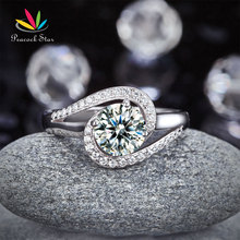 Pavo real Estrella Torcedura Curl 925 Bodas De Plata De ley Anillo de Compromiso 1.25 Ct Creado Diamante Aniversario Promesa CFR8245