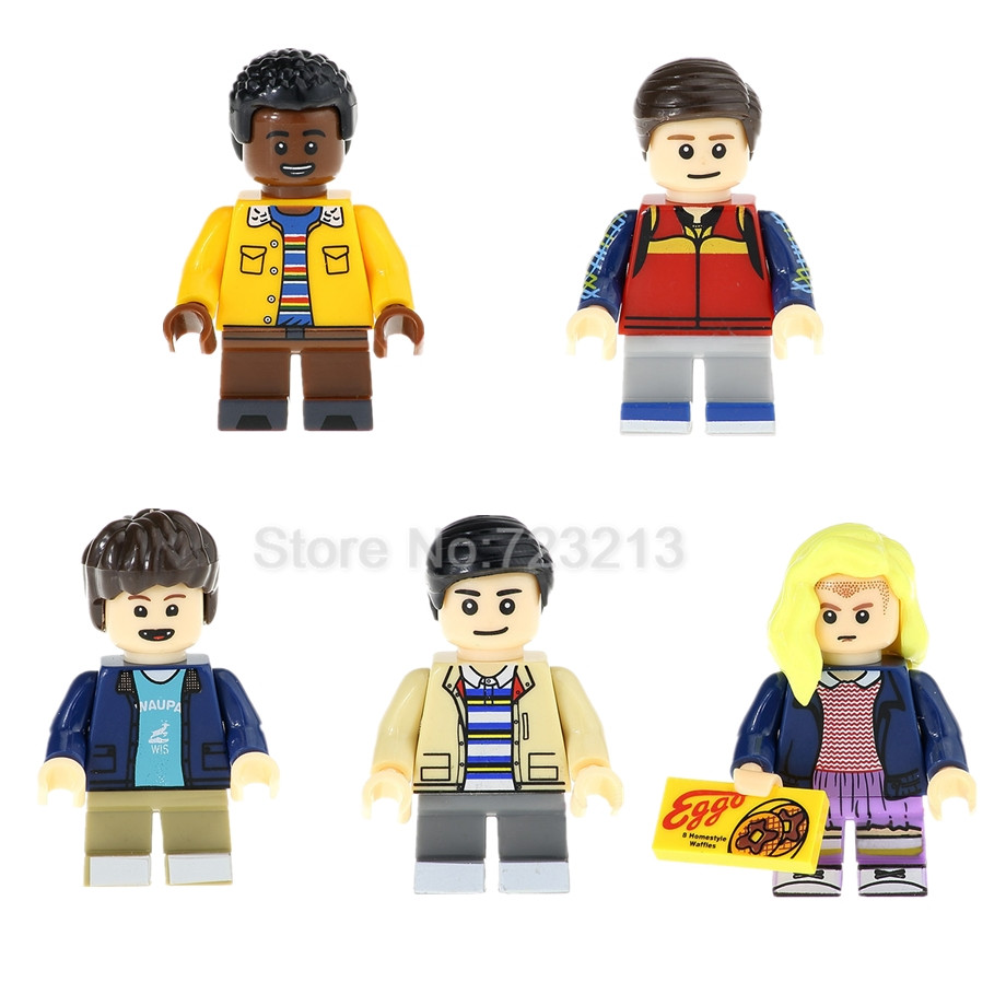 5pcs/set Stranger Things TV Figure Set Lucas Eleven Will Mike Dustin Model Building Blocks kits Brick Toys for Children