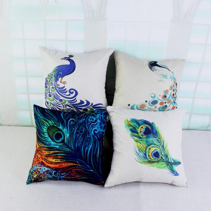 4Pcs/Lot Feather Printing Cover Linen Combination Pillow Case Peafowl Home Decorative Pillow Case 45*45cm