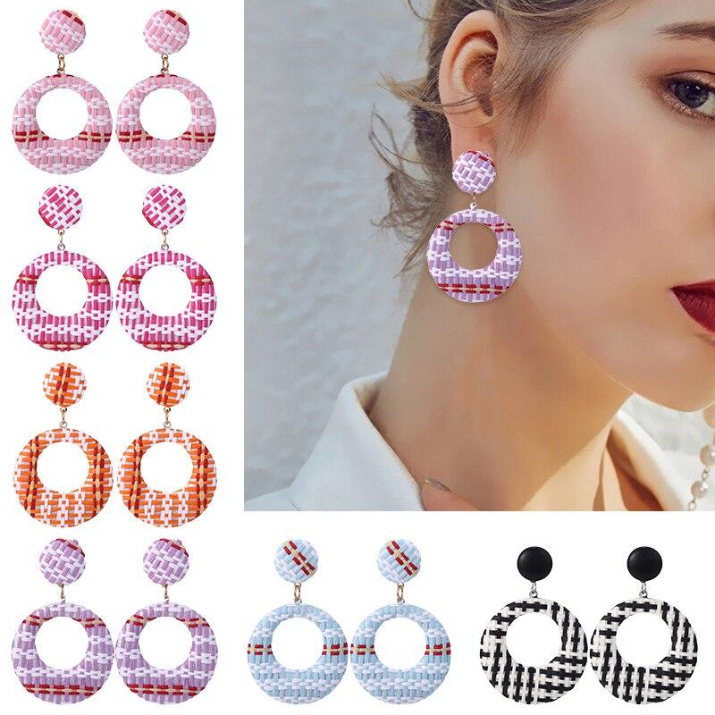 Popular Rattan Wooden Geometric Drop Earrings Bohemian Handmade Dangle for Woman Party Statement Jewelry Gift Wholesale