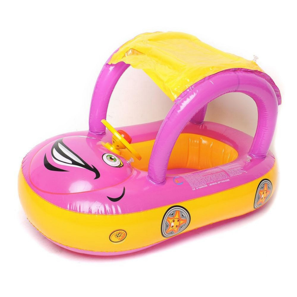 Portable Inflatable Baby Float Seat Boat Car Sunshade Swimming Ring Water Swim Pool Toy Sunshade Cartoon Car Swim Float Seat