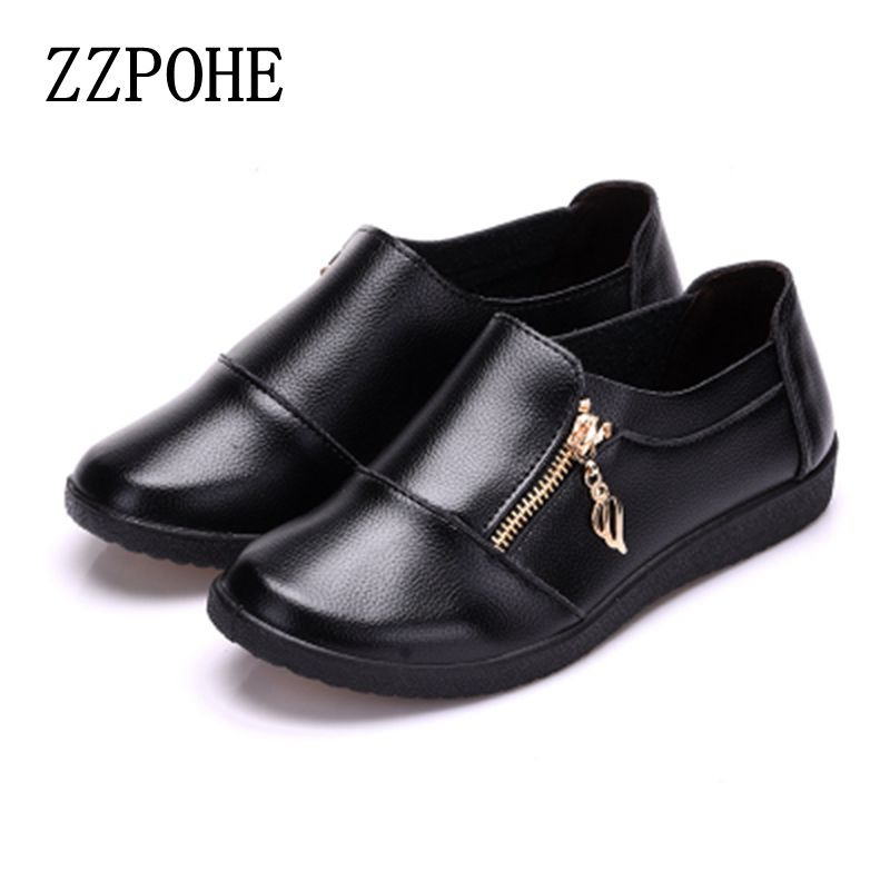 ZZPOHE 2017 new fashion Ladies shoes flat large size middle-aged single mother comfortable casual shoes slip shoes size 35-40 zzpohe women shoes spring soft soled mother black single shoes leather non slip casual comfortable middle aged ladies flat shoes