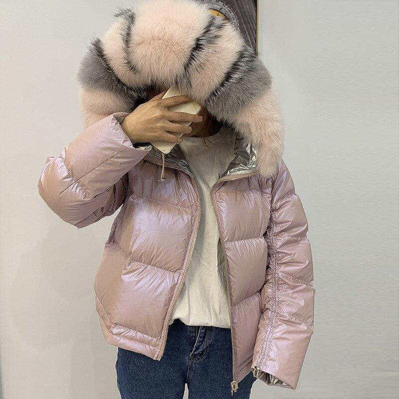 Winter Jacket Women Glossy Down Parka Real Raccoon Fur Collar Women Jacket Winter Hooded Parkas Warm