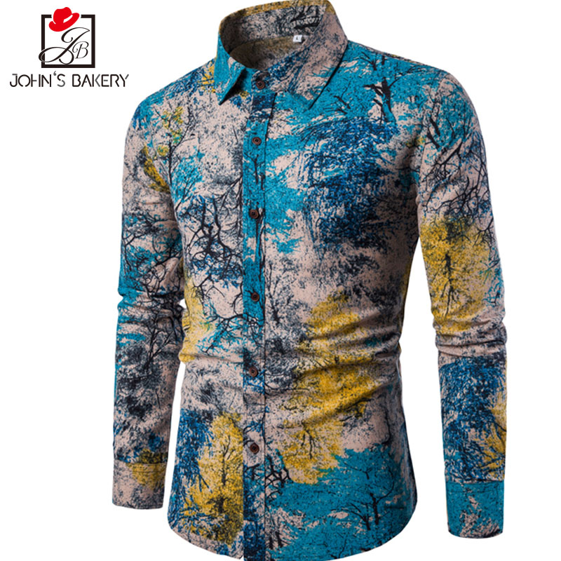 New brand clothing 2017 fashion shirt male flax dress for Mens slim hawaiian shirt