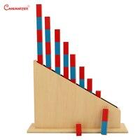 Раннее Образование Счетные палочки с подставкой Монтессори Количество палочки деревянный материал Математика дети практика развивающие и