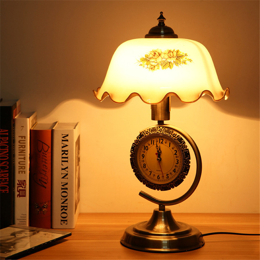 Delicious American Retro Table Lamps With Clock Deco Bedroom Bedside Desk Lamp,glass Lampshade Vintage Table Lights With Adjustable Light Led Lamps